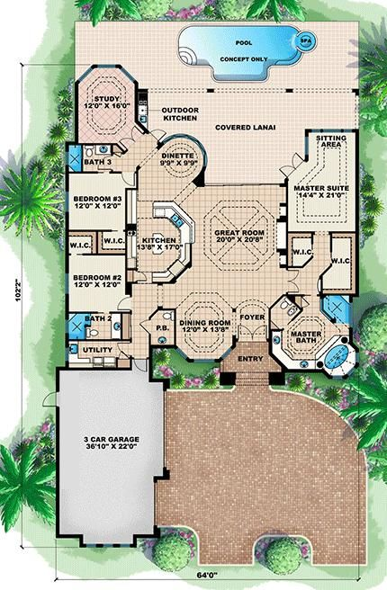 House Plan 1018 00046 Florida Plan 2 951 Square Feet 3 Bedrooms 3 5 Bathrooms Florida House Plans Mediterranean House Plan How To Plan