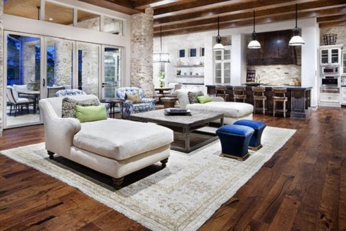 Cozy Big Open Kitchen and Living Room with Brick Stone Columns ...