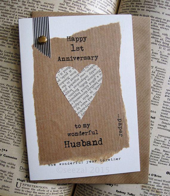 1st anniversary keepsake card husband wife paper