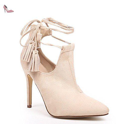 880dad3c1169 Ideal Shoes - Bottines à bout pointu semi-ouvertes effet daim Janane Beige  41 -