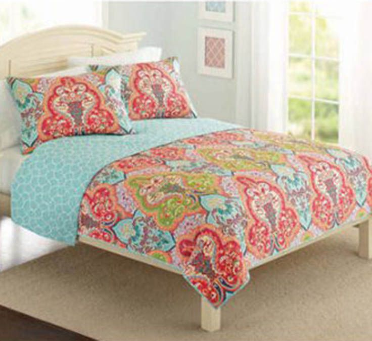 Better Homes And Gardens Jeweled Damask Bedding Quilt Collection Quilt Sets Bedding Coral Bedding Damask Bedding