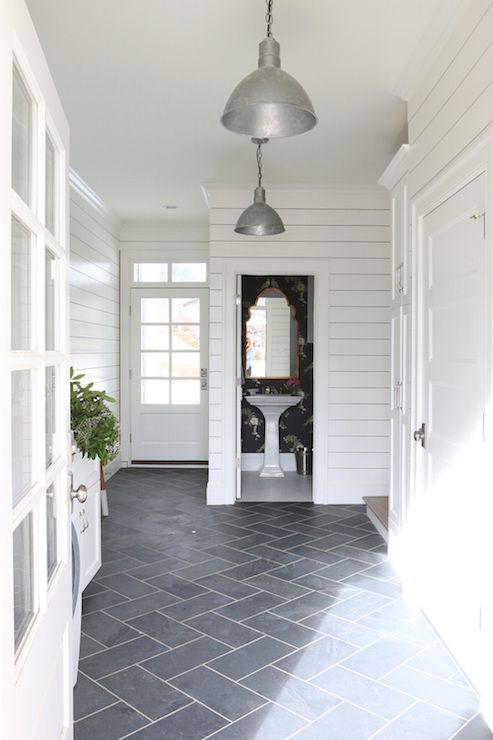 Mudroom With Powder Room Transitional Laundry Room Benjamin Moore Simply White Modern Farmhouse Design Farmhouse Design Ship Lap Walls