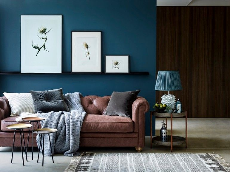 Living Room Ideas Uk Brown Sofa In 2020 Brown And Blue Living Room Leather Sofa Living Room Blue Walls Living Room