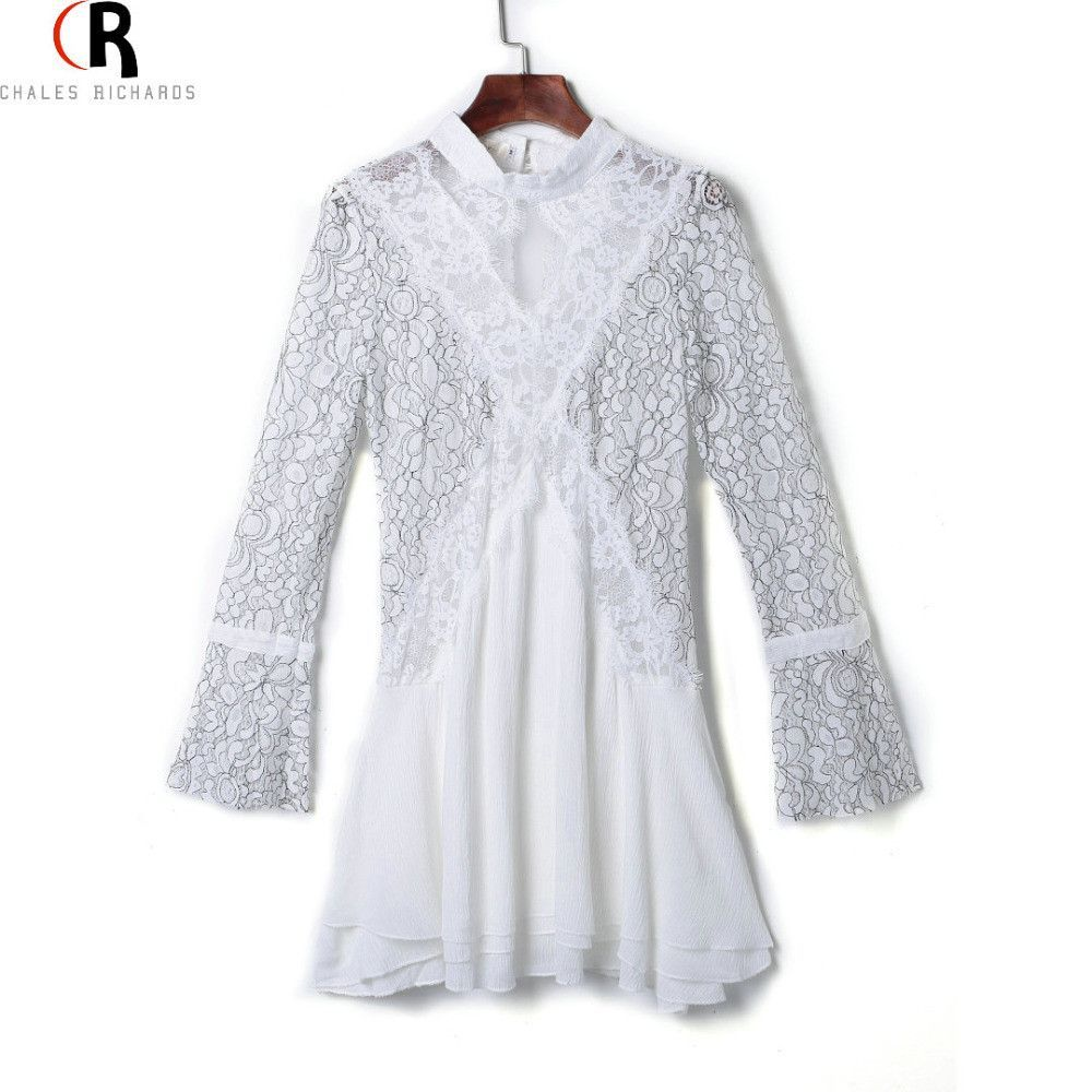 White high neck lace panel keyhole back long sleeve dress casual