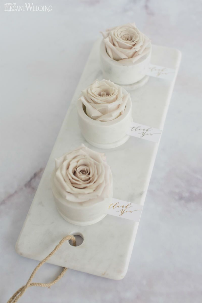 Rose wedding favours in a marble jar! So elegant! NORDIC LOVE ...