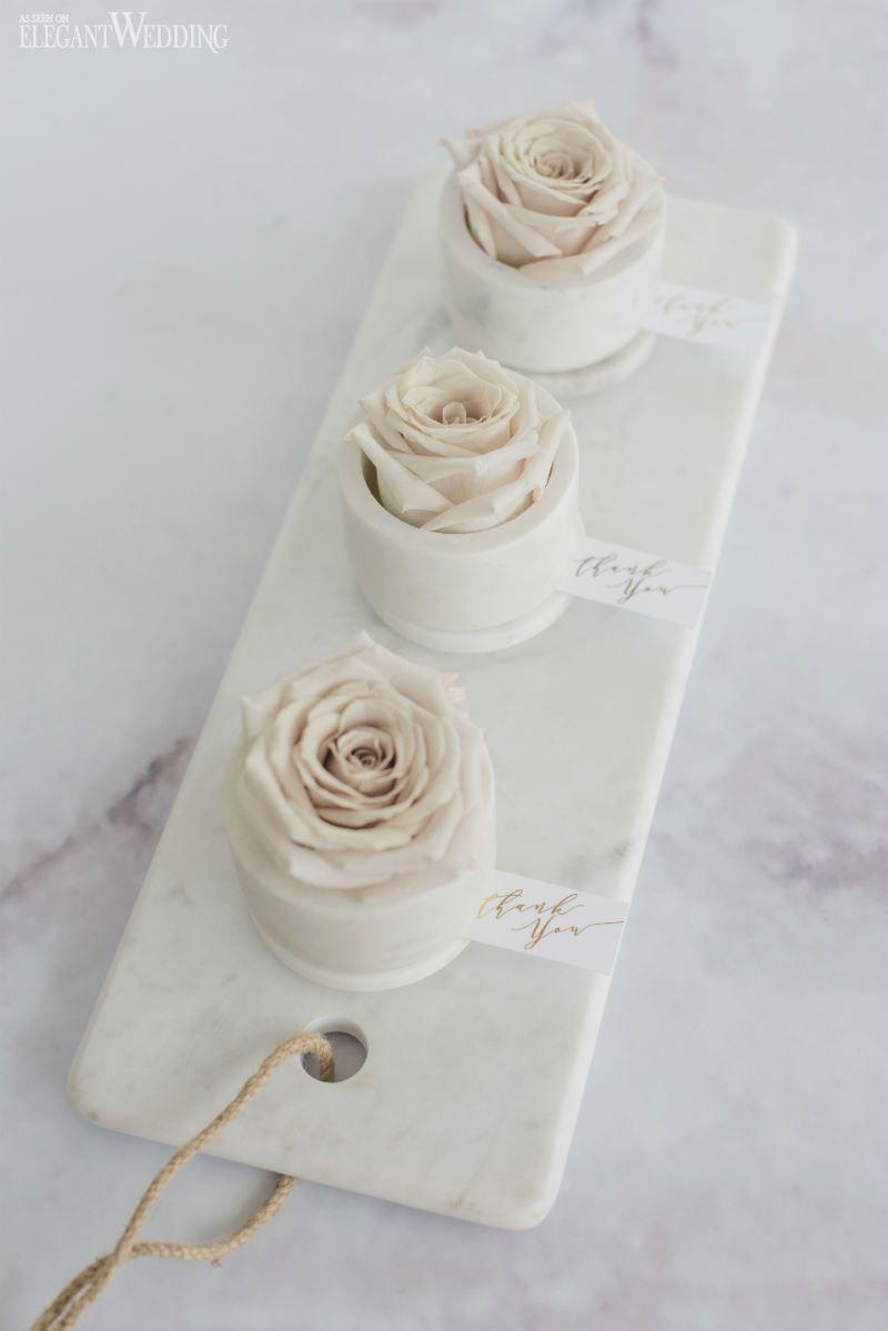 Rose wedding favours in a marble jar! So elegant! NORDIC LOVE ...