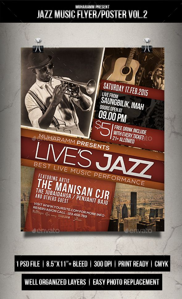 Jazz Music Flyer  Poster Vol  Music Flyer Jazz Music And Jazz