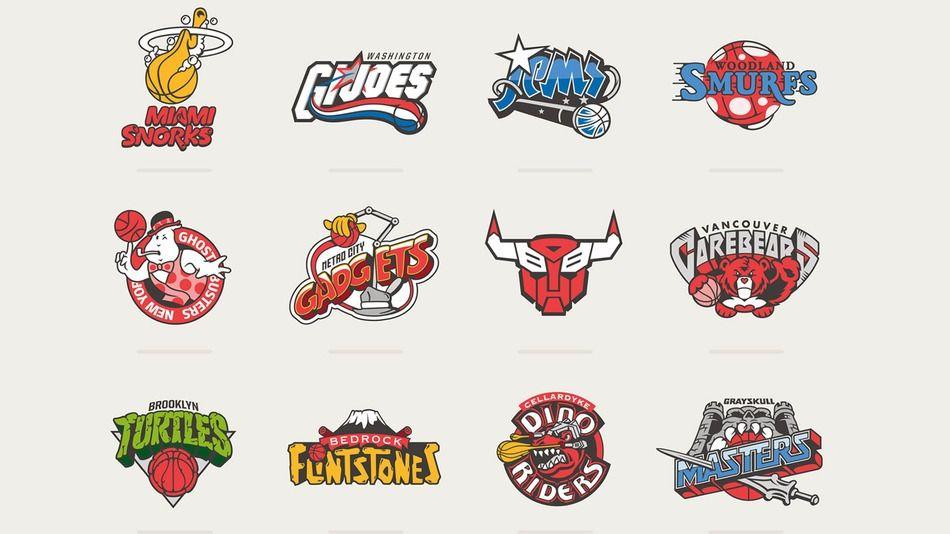 Classic 80s Cartoons Get An Nba Logo Makeover Sports Graphic