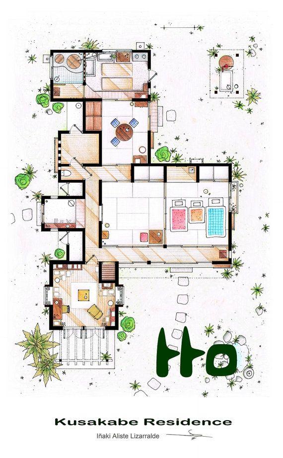 Kusakabe Residence From Tonari No Totoro Film Floor Plan Drawing Interior Design Sketches Traditional Japanese House