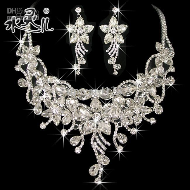 Silver Diamond Flower Bridal Necklace Earring Set Rhinestone Party
