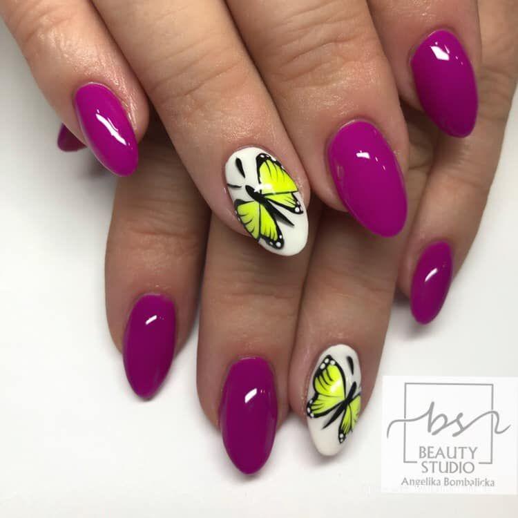 Wiosenna Stylizacja W Intensywnym Amarantowym Kolorze I Motylkowym Wzorkiem Nails Beauty