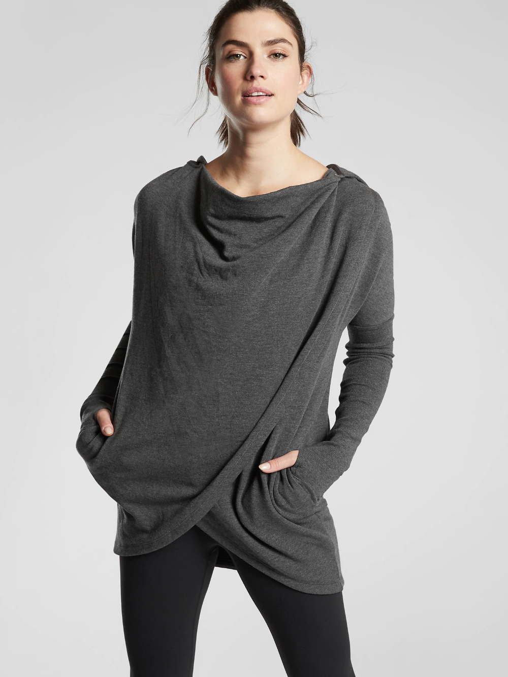Purana Wrap Sweatshirt Athleta Workout Tops For Women Sweatshirts Athletic Tops Women [ 1333 x 1000 Pixel ]