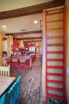 I have to paint my kitchen cabinets this red!  I have a brick floor too, so this would look sooooo good