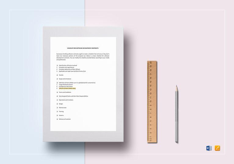 Checklist Software Development Contract Template  Document Design