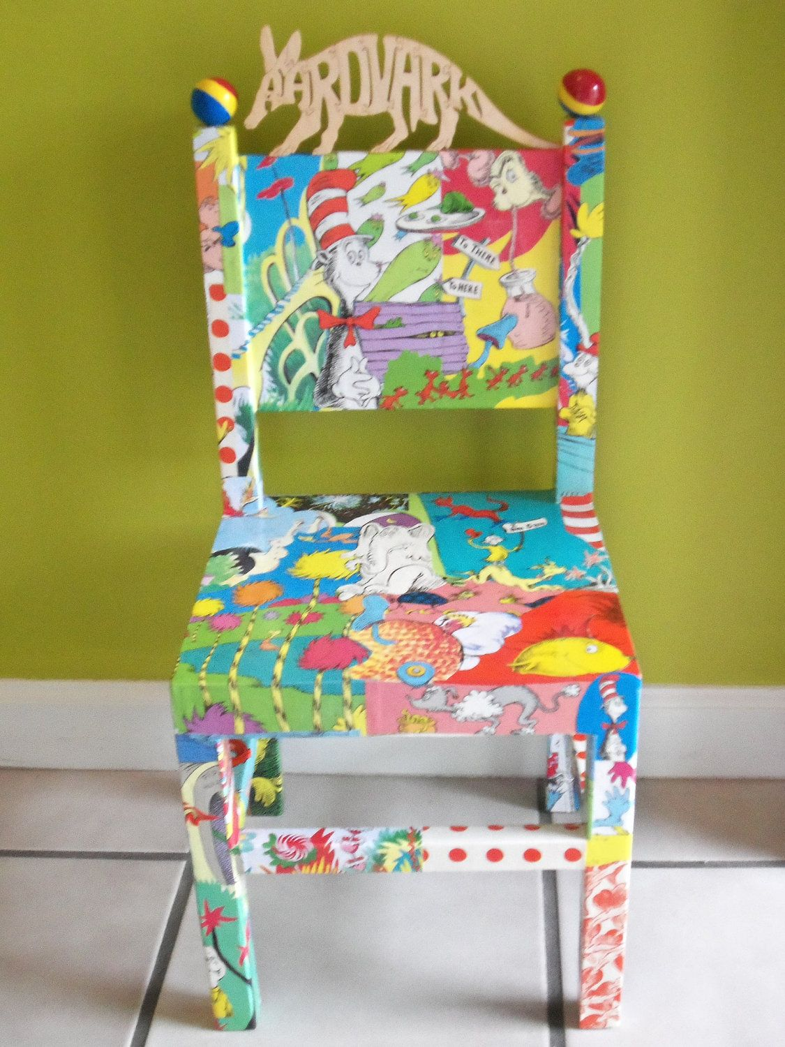 Dr Seuss Decoupaged Wood Childs Chair Cat in by
