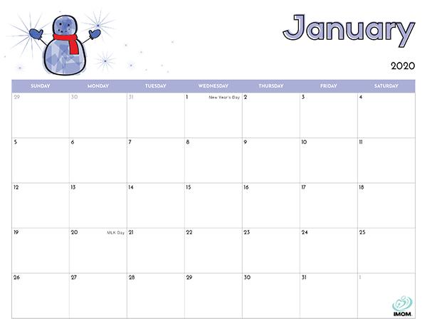 2020 and 2021 Printable Calendars for Kids   iMom | Kids calendar