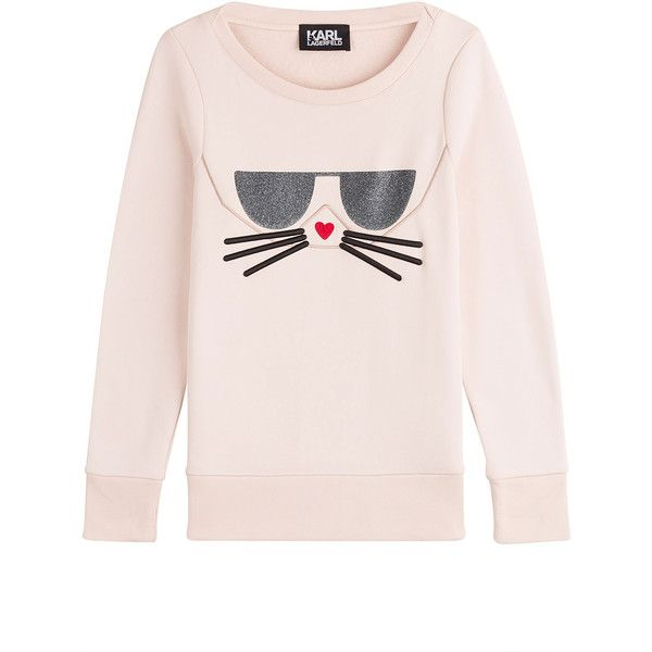 Karl Lagerfeld Sweatshirt (3.308.800 VND) ❤ liked on Polyvore featuring tops, hoodies, sweatshirts, rose, karl lagerfeld top, slimming tops, glitter top, glitter sweatshirt and pink sweatshirts