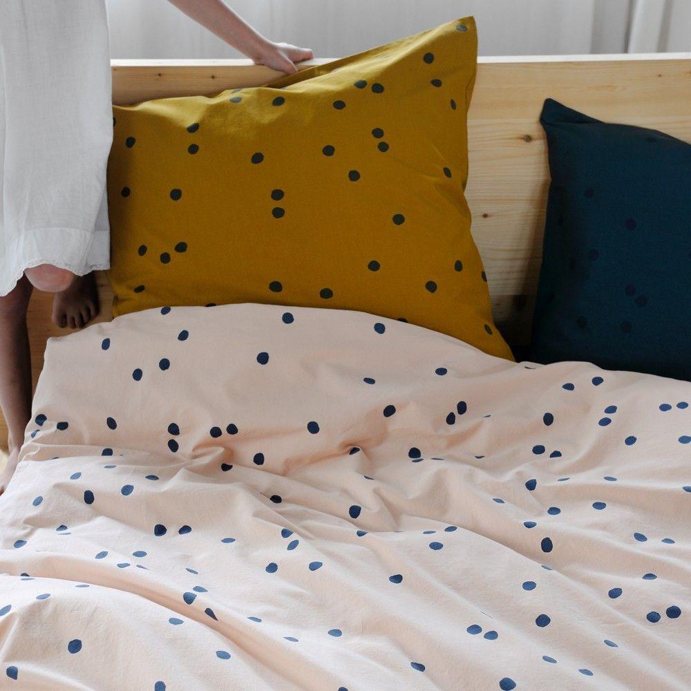 housse de couette odette pois gris rose poudr housses. Black Bedroom Furniture Sets. Home Design Ideas