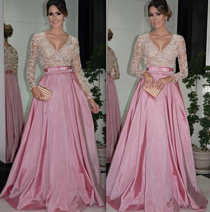 Sexy Langarm Spitze Eevening Kleid Pailletten Dubai Stil Eine Linie ...