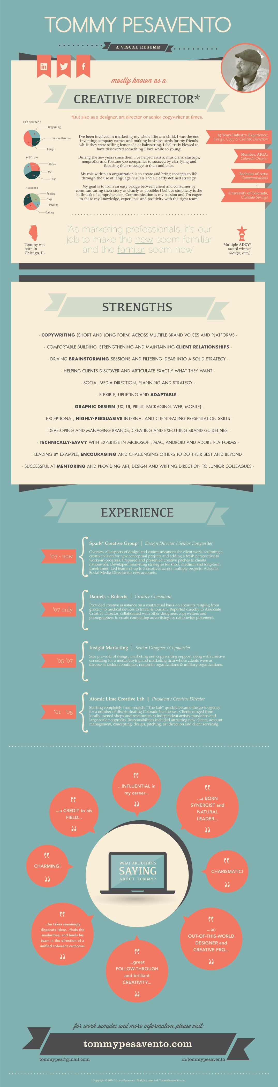 Infographic My Visual Resume Tommy Pesavento Infografias