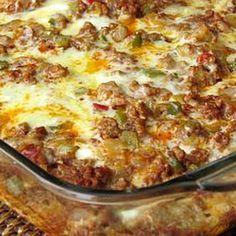 I LOVE this Mexican Breakfast Casserole for breakfast, brunch, lunch or dinner! Chorizo, ground turkey, bell peppers, spinach and 3 kinds of cheeses are just a few of the ingredients that make it so good. Enjoy!