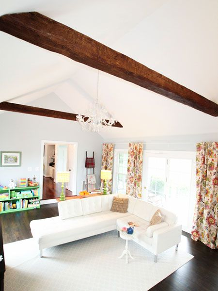 See How Heather Of The Heathered Nest Used Faux Wood Beams Purchased At A Fraction Cost Real Ones To Add Architectural Flair Their Family Room