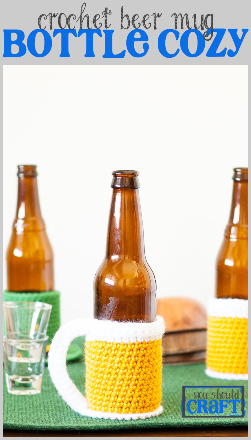 Beer Mug Bottle Cozy - Free Crochet Pattern   Decoración