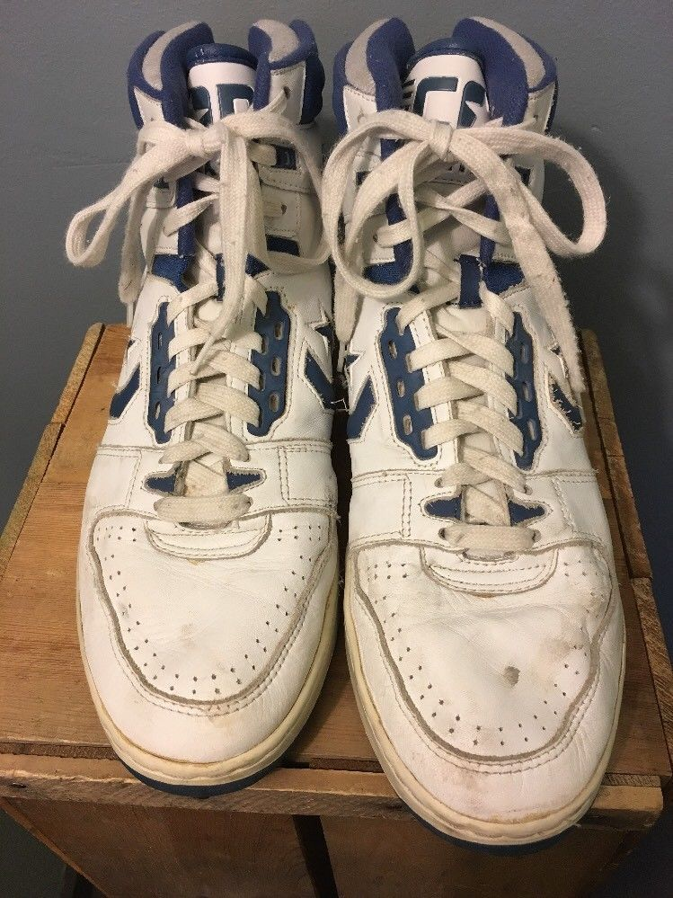 ae96372a0e353a Vtg men s 1980s 90s Cons ERX-300 white and blue leather basketball shoes  made by Converse. Y-Bar athletic sneakers from Magic Johnson Larry Bird  LAkers ...