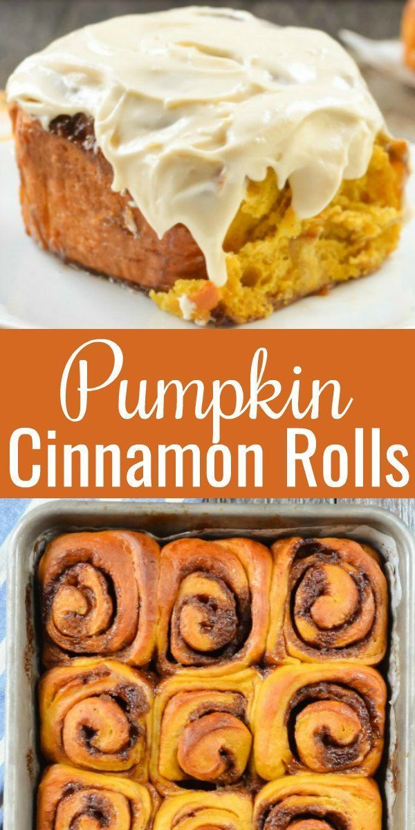 Pumpkin Cinnamon Rolls with Maple Cream Cheese Frosting