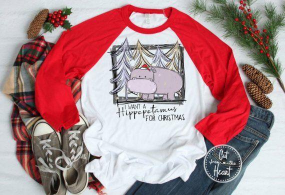 Hippopotamus for Christmas Shirt, Funny Christmas Shirt, Ladies