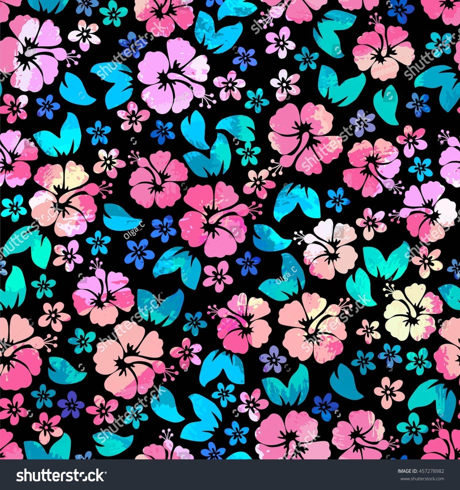 673e47005743 Hibiscus Flowers Seamless Pattern. Hawaiian Aloha Shirt Seamless Background.