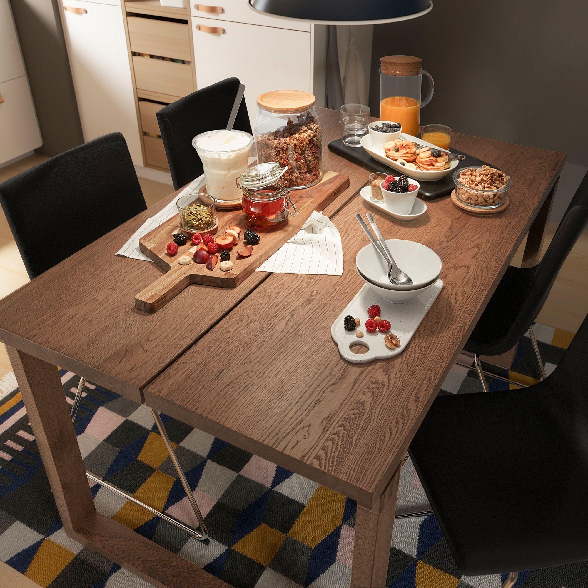 Morbylanga Tafel Eikenfineer Bruin Gelazuurd 140x85 Cm Ikea Ikea Spaanplaat Massief Eiken [ 2000 x 2000 Pixel ]