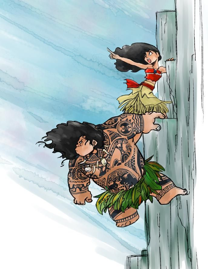 Moana and Maui climbing the cliffs that lead to the Realm of Monsters.