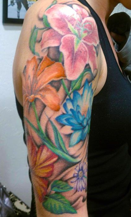 24 Hibiscus Flower Tattoos Designs Trends Ideas: Flower Sleeve, Tiger Lilly, Daisy Iotus, Hibiscus