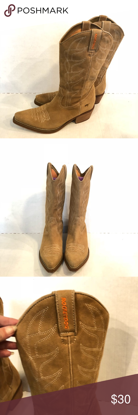 5a704119d5d ROCKET DOG suede cowgirl boots Women's size 8.5. Very cute rocket ...