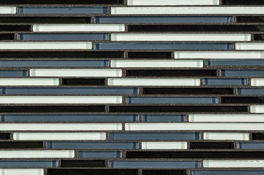 BuildDirect – Mosaic Tile - Crystalized Glass Blend Series – Black Bamboo Glass Blend - Close View