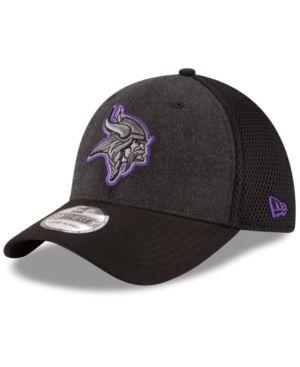 New Era Minnesota Vikings Black Heather Neo 39THIRTY Cap - Black M L ... 725c7e7defa4