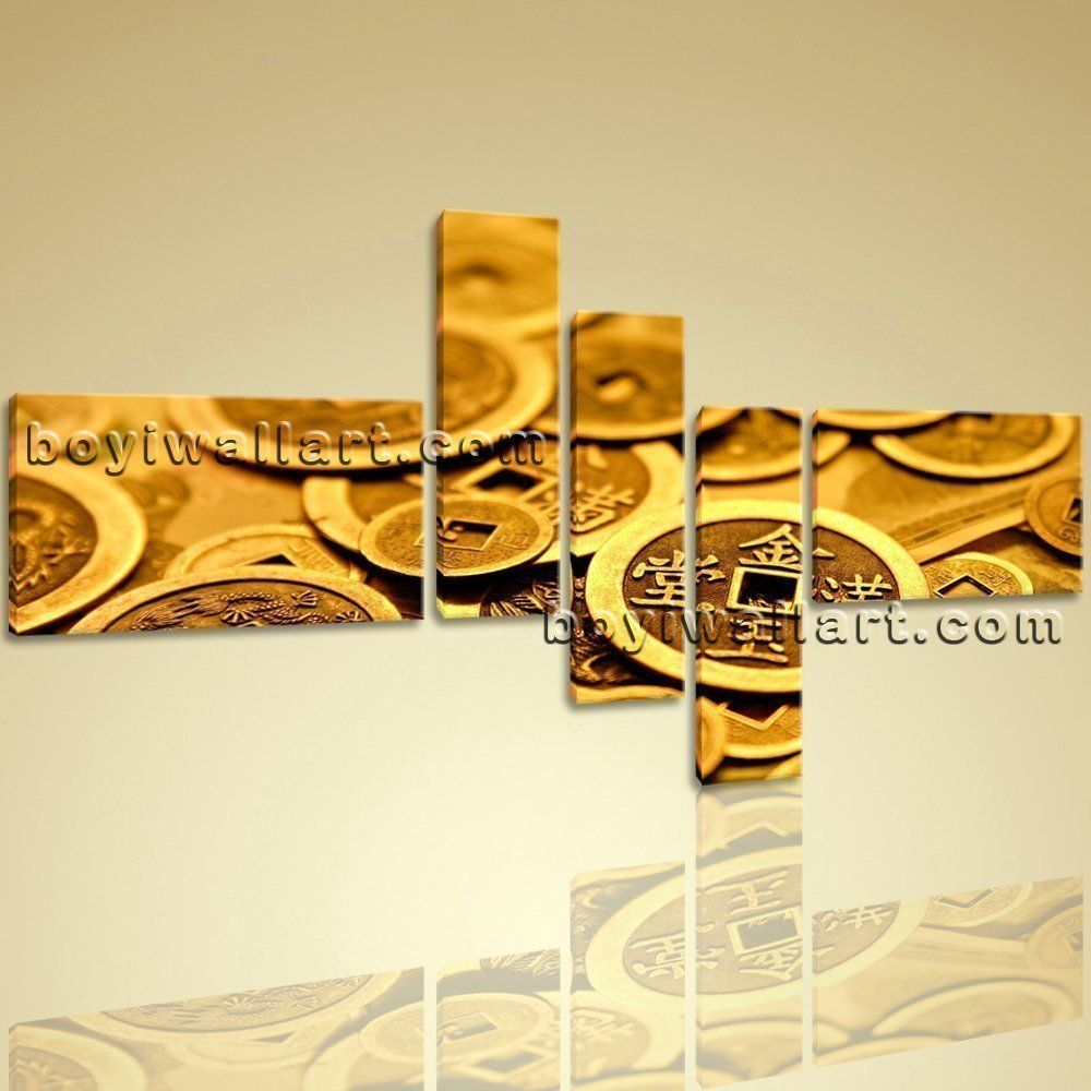 Ancient coin feng shui painting abstract wall art print on canvas