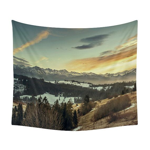 Mountain Tapestry Landscape Print Wall Tapestries Decor Winter Nature Snow Christmas
