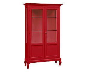 Vetrina in legno massiccio Diana rosso - 126x207x44 cm