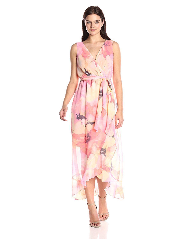 Floral print wedding dresses  Sangria Womenus Sleevless Floral Wrap Dress at Amazon Womenus