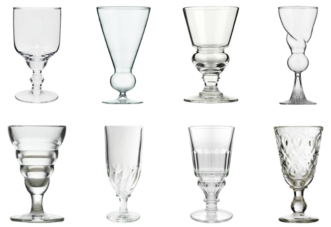 Assorted blown and molded absinthe glasses