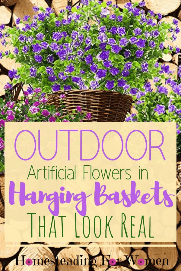 Outdoor Artificial Flowers In Hanging Baskets That Look Real Artificial Hanging Baskets Artificial Flowers Outdoors Artificial Flowers
