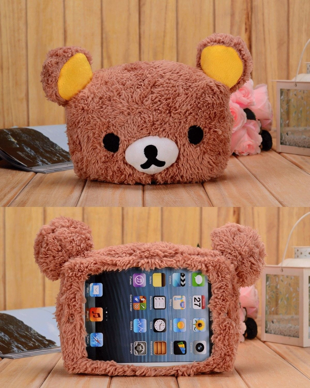 cute 3d cartoon lovely brown bear plush toy silicone case cover, Badezimmer