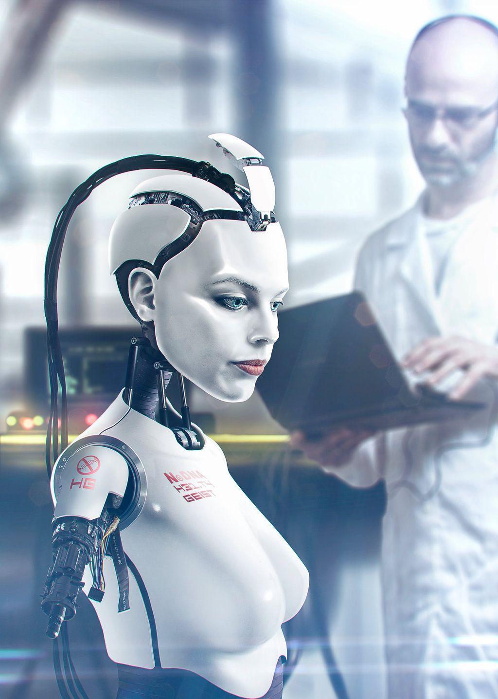 female black white robot, with alien slanted head Valhallan Nebula ...