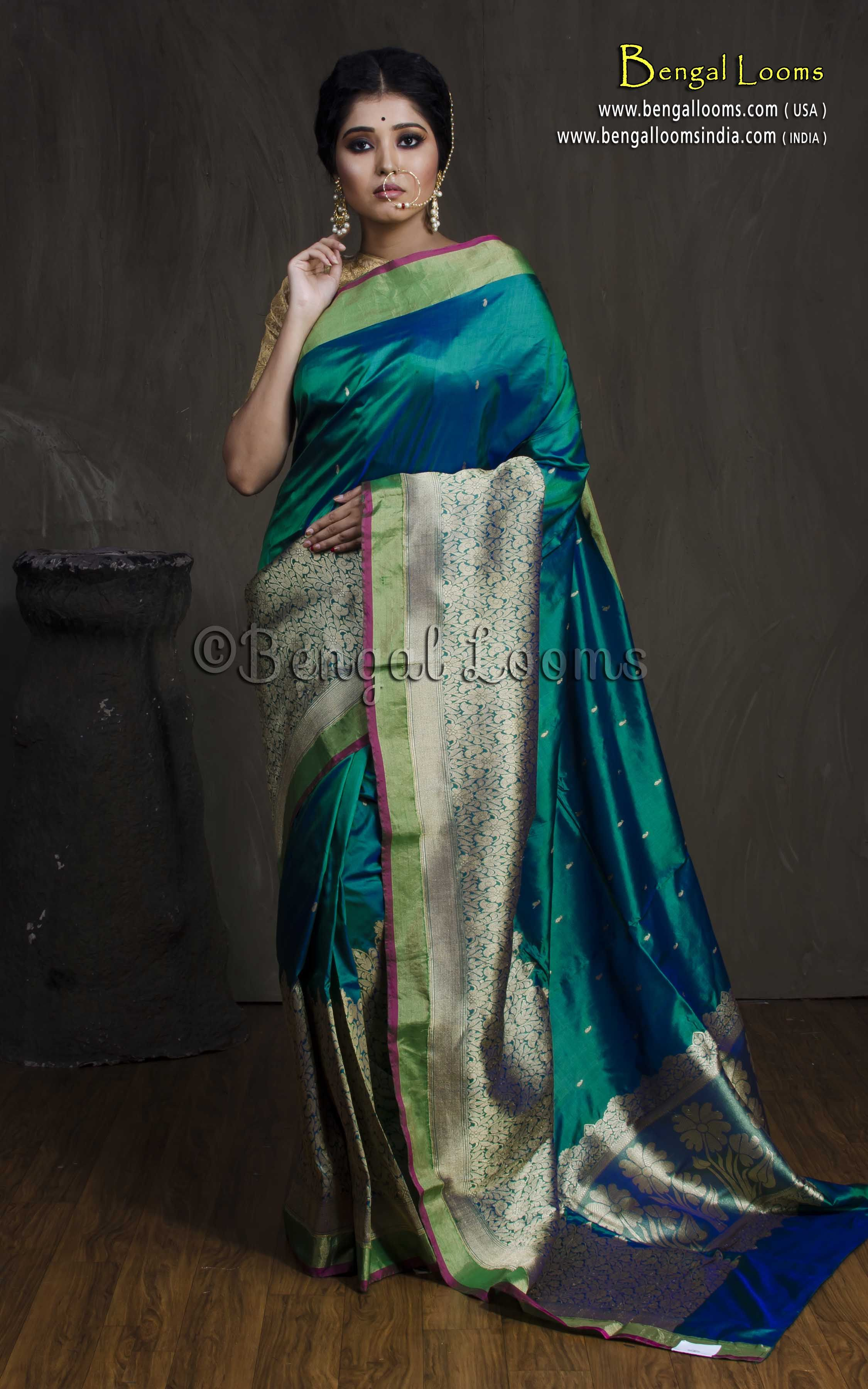 1fe8d7a4979ad0 Pure Katan Silk Skirt Border Resham Work Banarasi Saree in Peacock Green