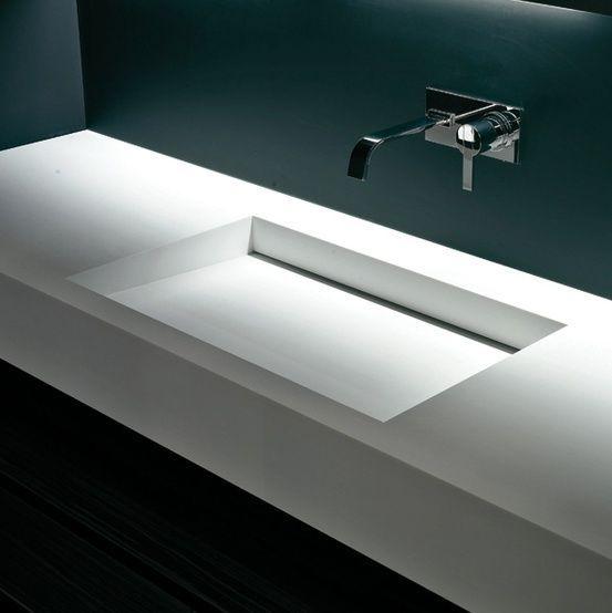 BESPOKE CORIAN VANITY SINGLE/DOUBLE WITH HIDDEN WASTE. Modern SinkModern  Bathroom ...