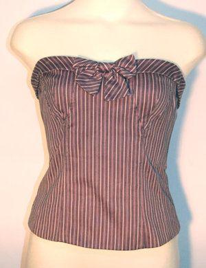 Nanette Lepore Purple Striped Corset Top