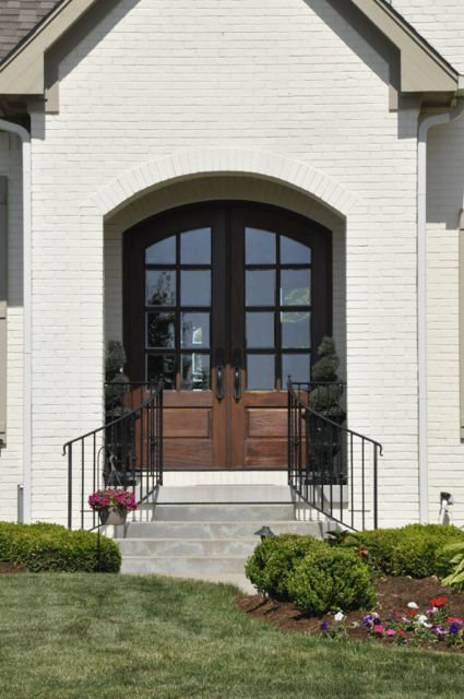 Wood arched french front doors elegant entryways for Arched french doors