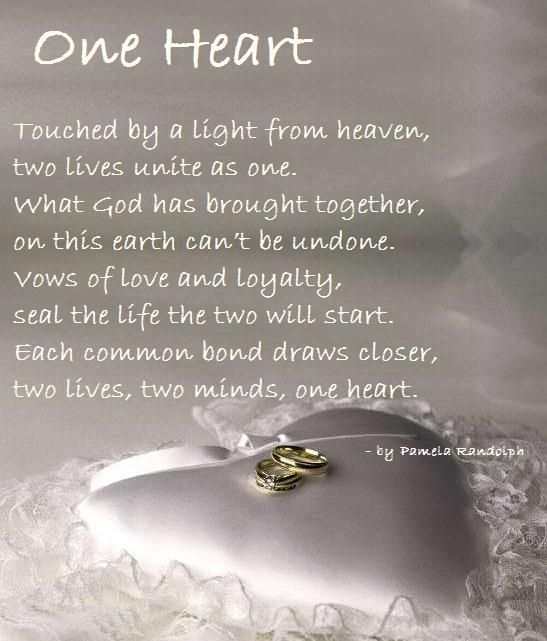One Heart An Original Wedding Poem Written By Pamela Randolph